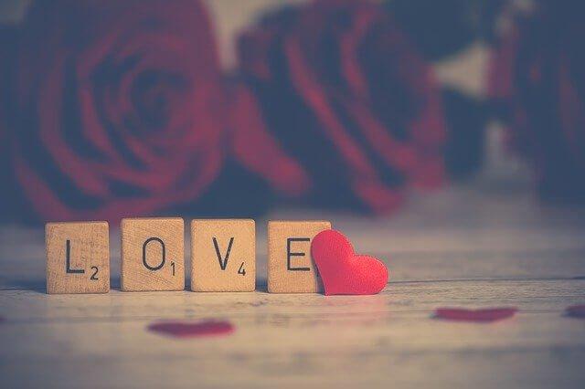 blocos de madeira formando a palavra love ou amor, com rosas vermelhas ao fundo
