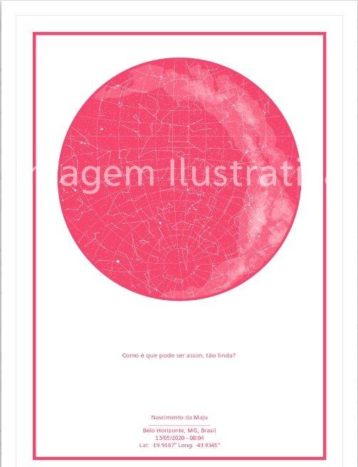imagem do poster rosa com fundo branco do mapa do meu céu personalizado para presente para recem nascido