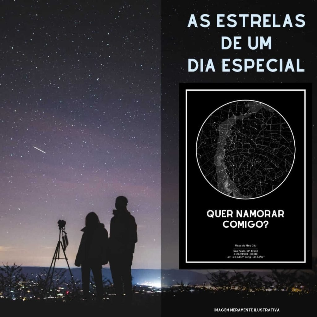 casal observando as estrelas e pôster do mapa do meu ceu ao lado com pedido de namoro