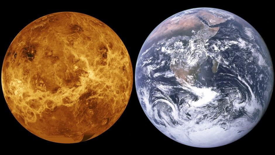 o planeta vênus em comparação com a terra