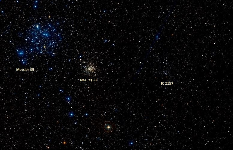 Messier 35 da Constelação de Gêmeos  - imagem de Wikisky