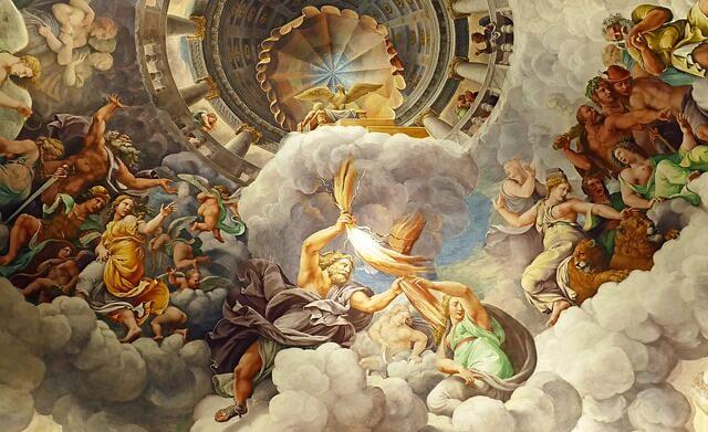 pintura mostra zeus com o raio nas mãos no olimpo