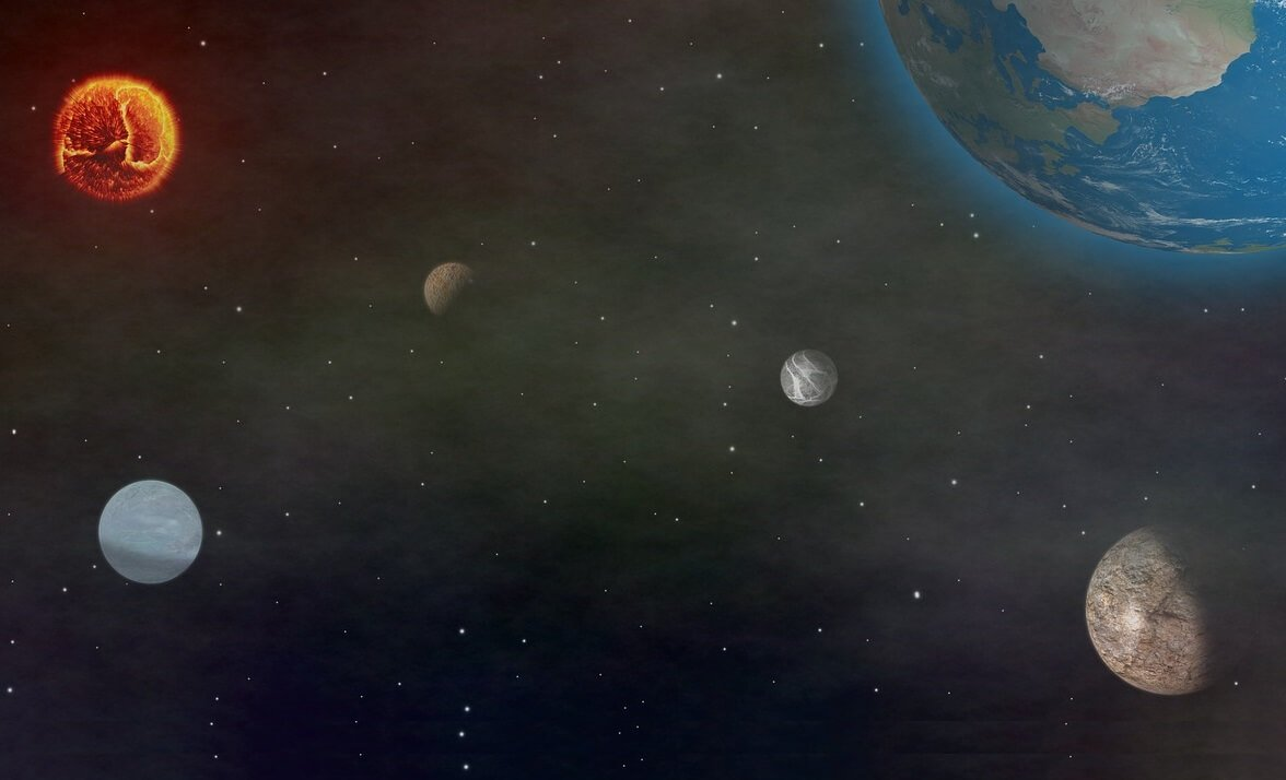 presente de planeta com ilustração do sistema solar