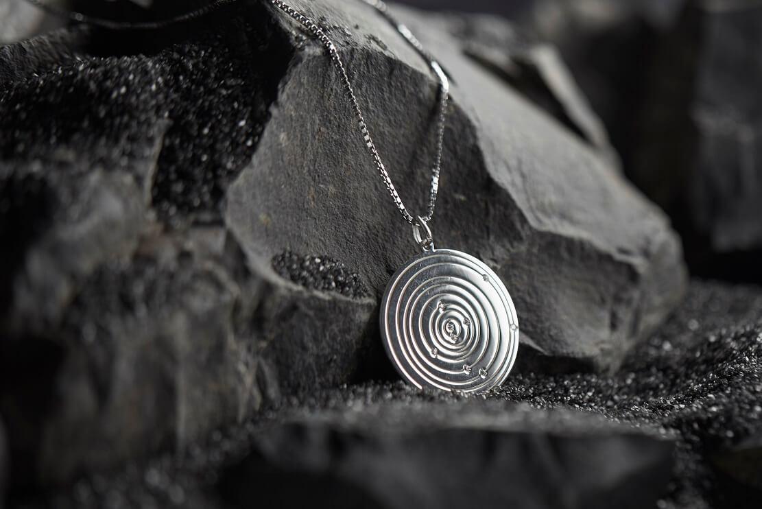 Cuidados com prata 925 - pingente personalizado com o alinhamento dos planetas