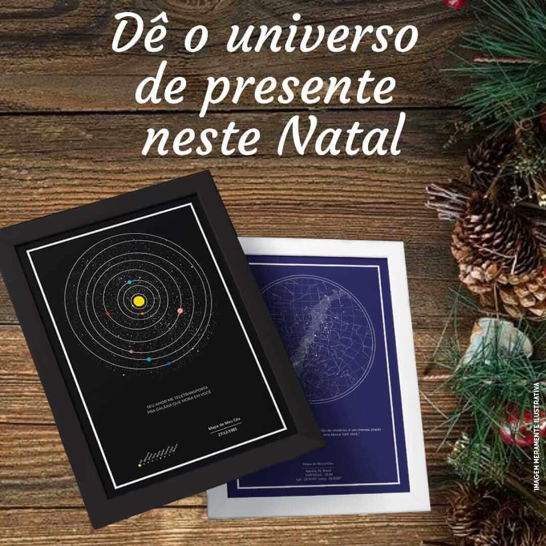 Dica de presente de Natal com mapa dos planetas e mapa das estrelas em fundo natalino