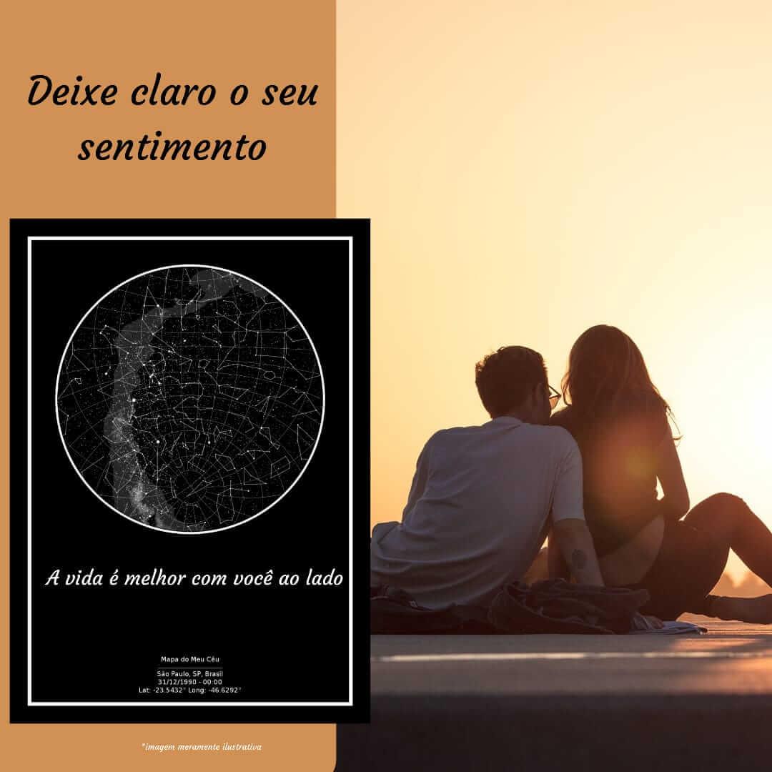 declaração de amor comemorada com um mapa das estrelas - casal observa o por do sol