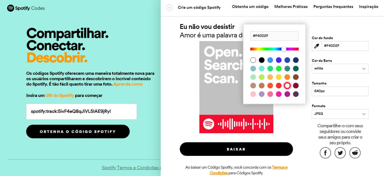 código qr do spotify - como personalizar o código