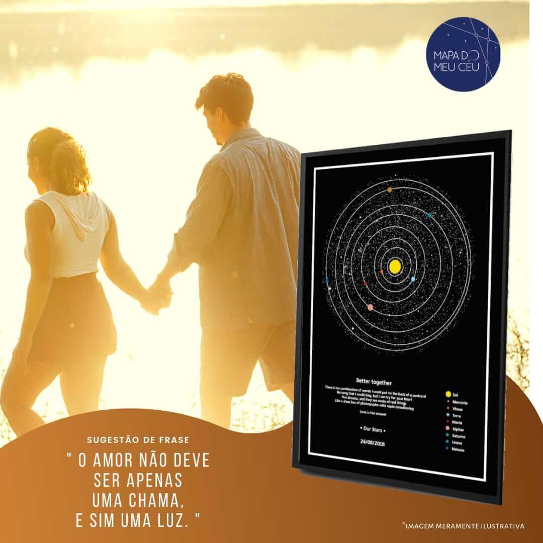 casal anda na praia iluminados pela luz solar, com mapa dos planetas em evidência