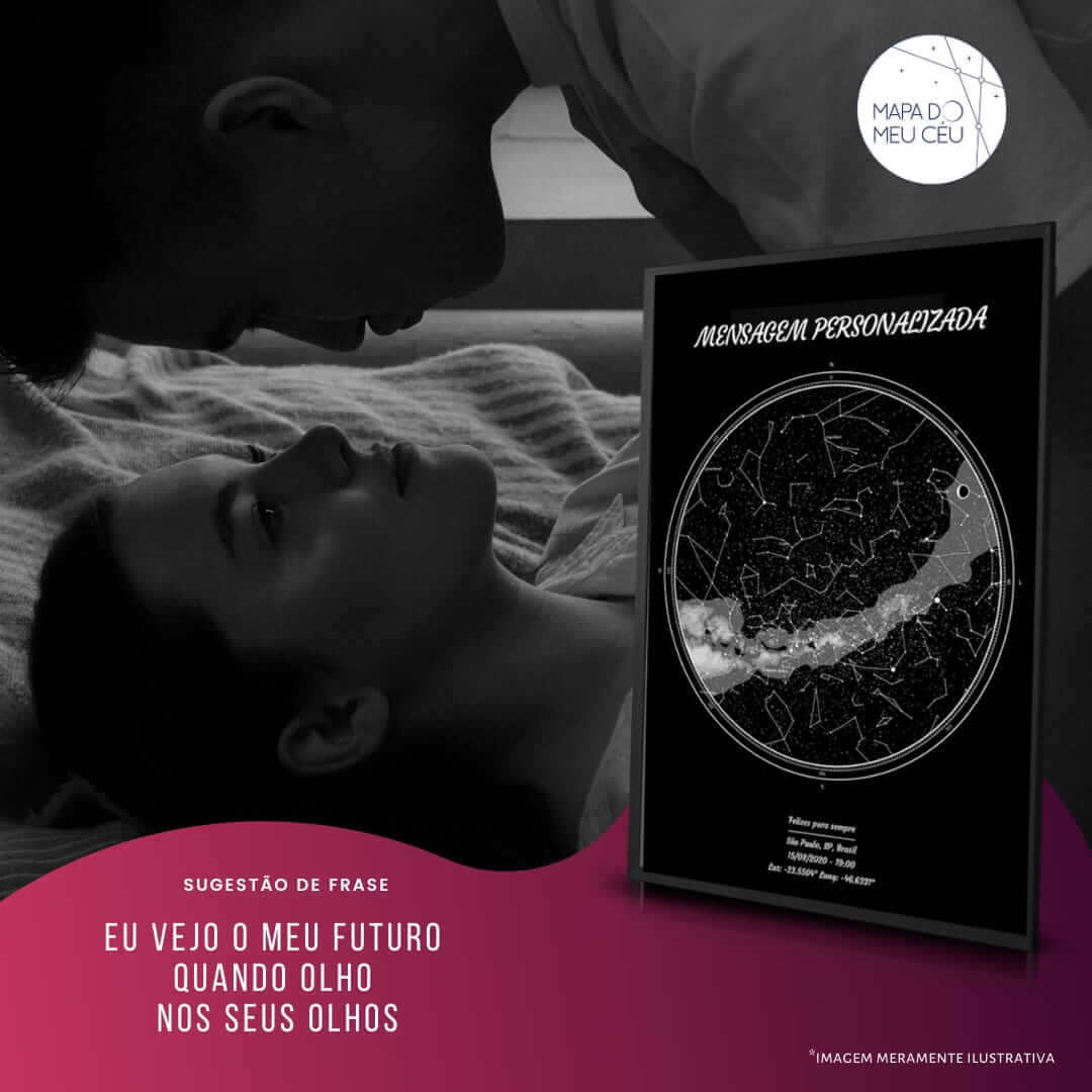 frases de amor - casal olha apaixonado um para o outro, com mapa das estrelas em evidência