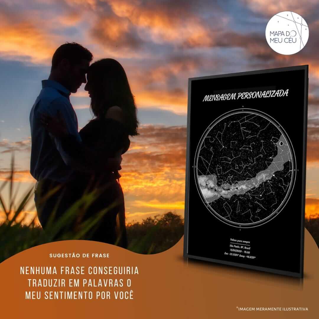 frases de amor para namorada - casal em momento romântico no pôr do sol, com mapa das estrelas em evidência