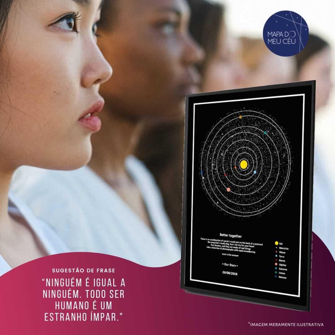 frases de inclusão - uma filha de mulheres diversas é disposta, com mapa dos planetas em primeiro plano