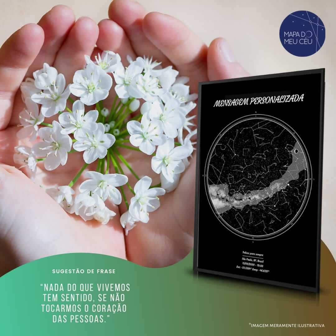 mensagem de amor ao próximo - frases de empatia - mão acolhe círculo de flores com mapa das estrelas em primeiro plano