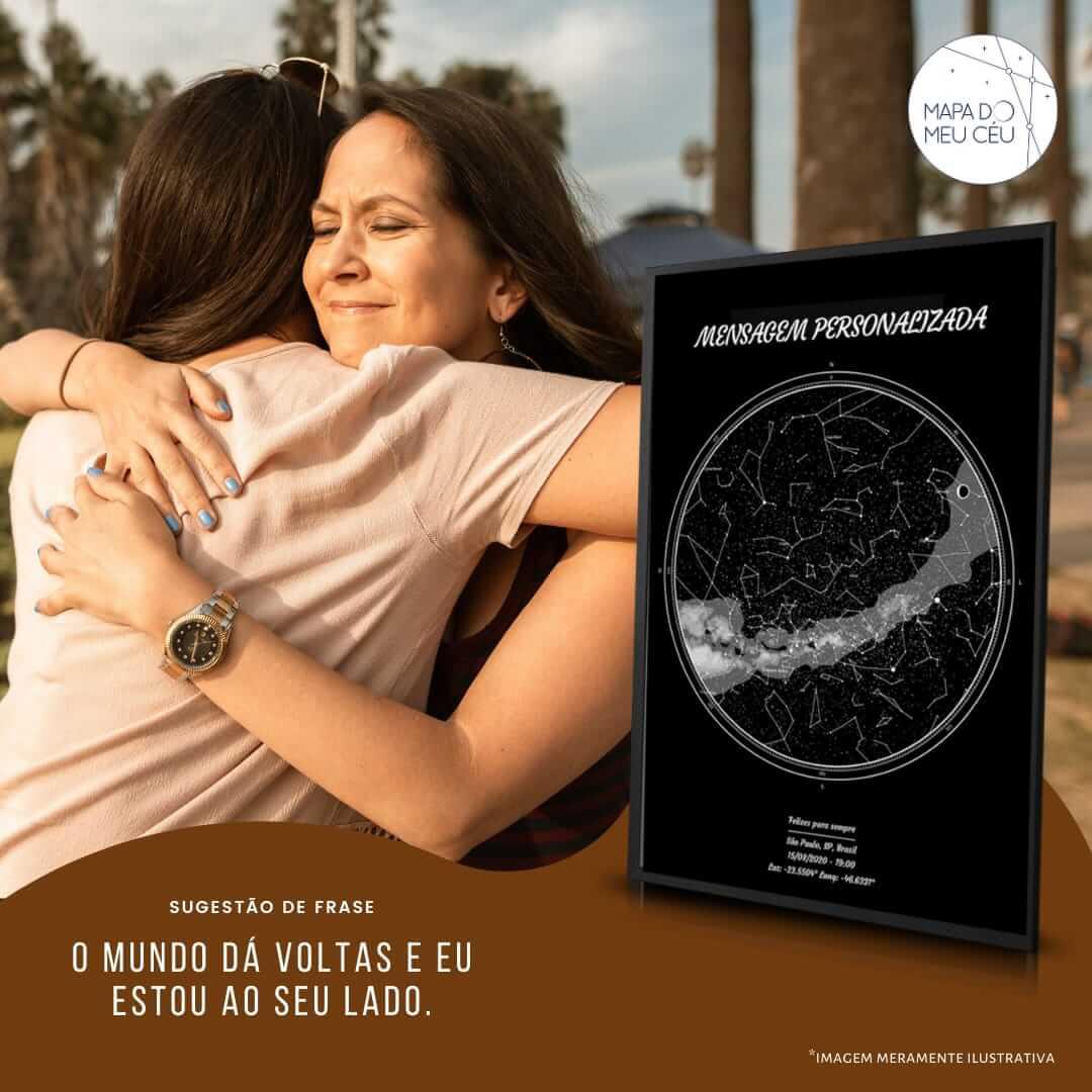mensagem de amor ao próximo - frases de empatia - mulheres se abraçam em sinal de carinho com mapa das estrelas em primeiro plano