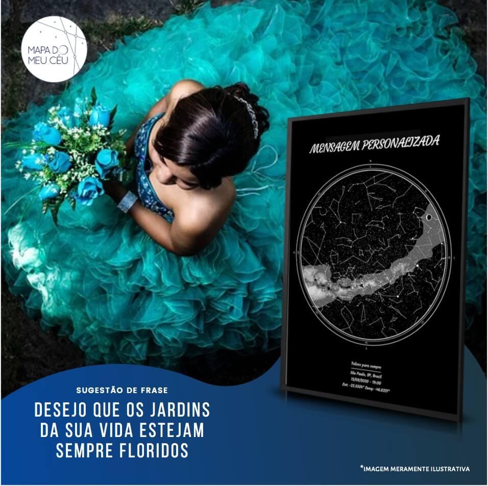 presente para debutante - garota com vestido de festa ao lado do mapa do meu ceu
