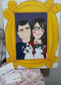 presentear na quarentena quadro da família com os pets