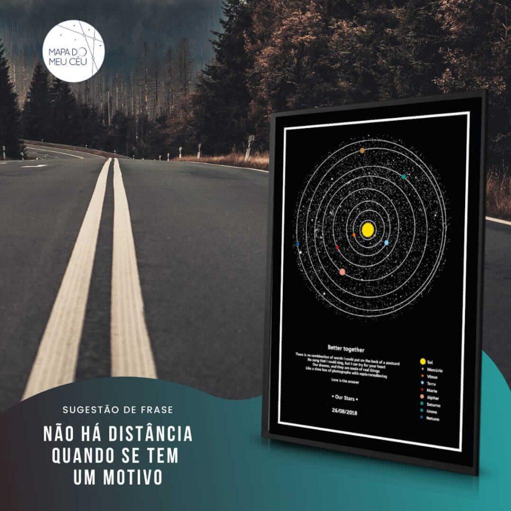 mapa dos planetas - mensagens de amor a distancia com estrada ao fundo