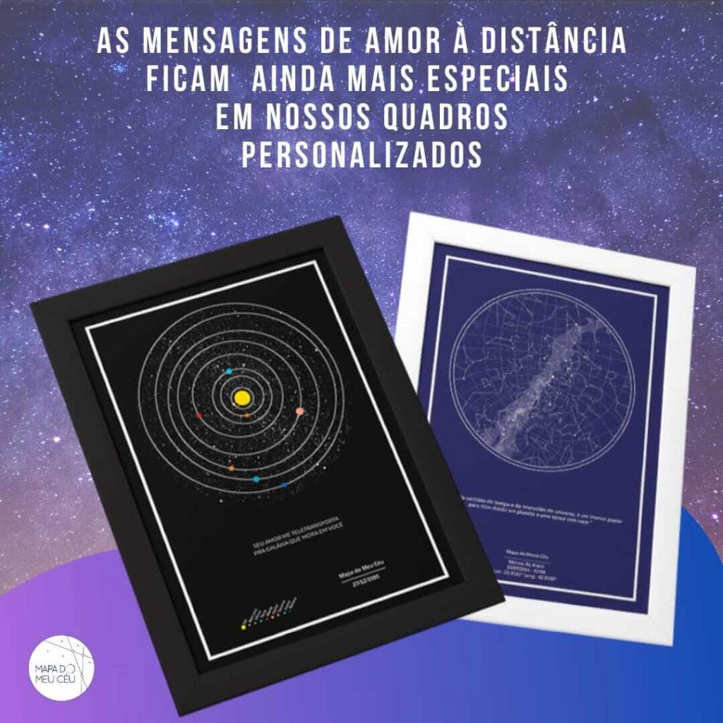 mensagem de amor à distância - mapa das estrelas e mapa dos planetas em fundo estrelado