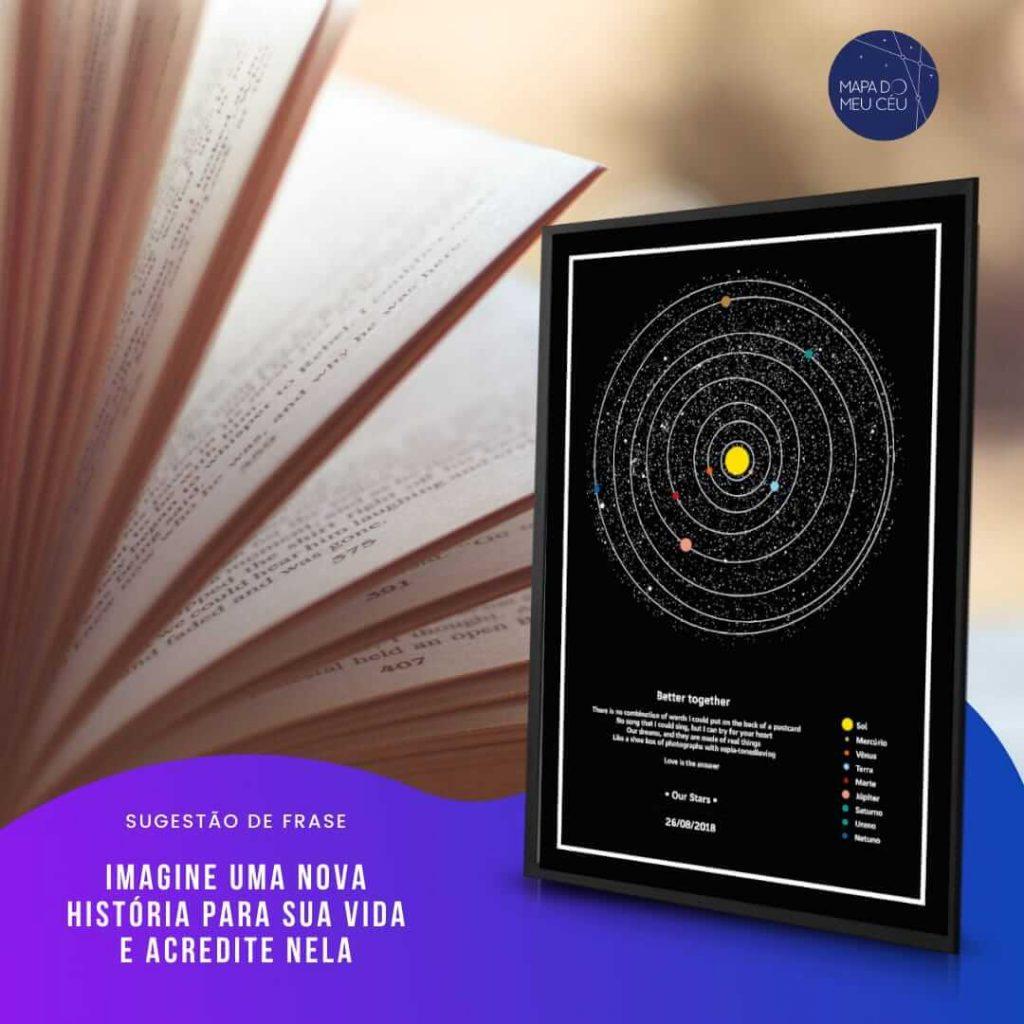 frases motivacionais - páginas de um livro aberto, com mapa das estrelas em evidência